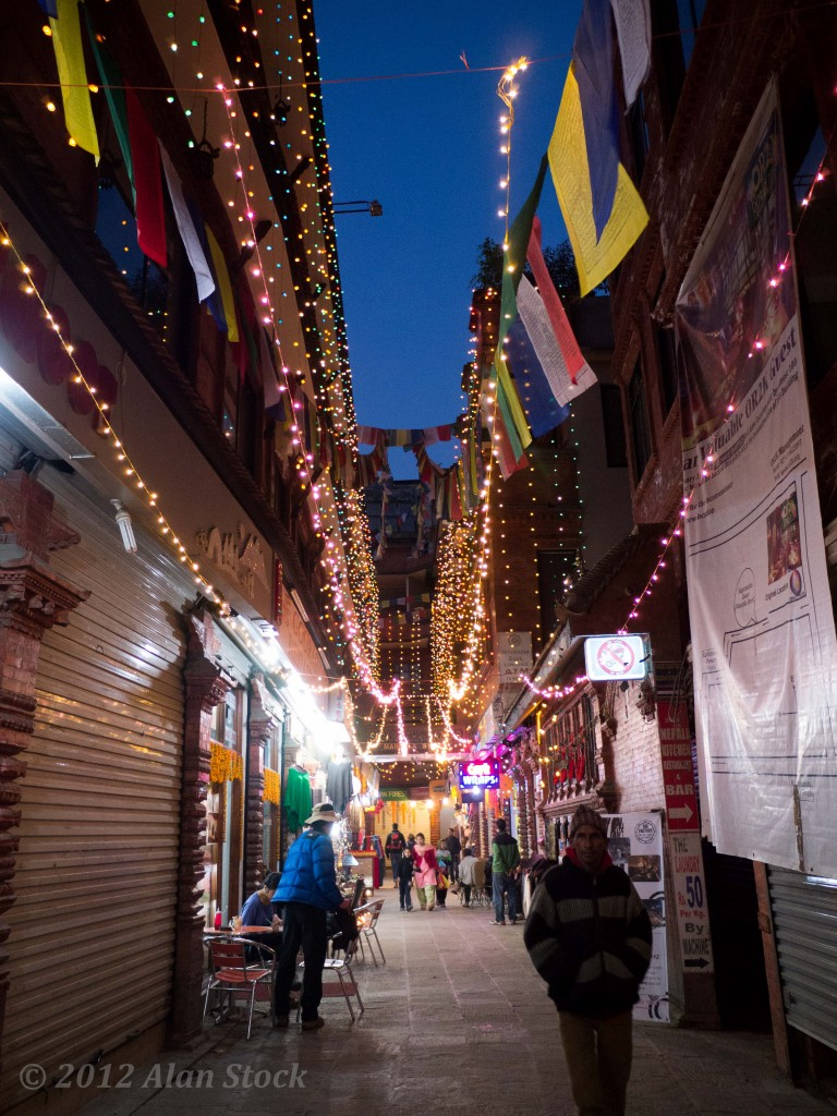 Thamel lit by the Tihar lights
