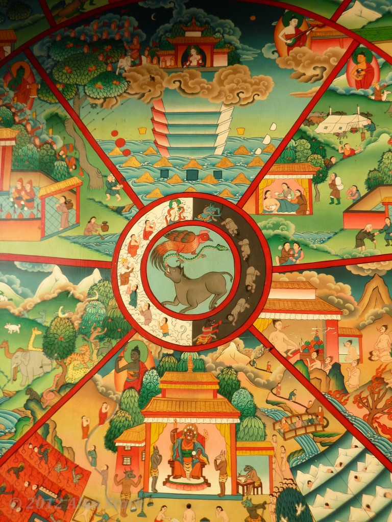 Ceiling art in one of the temple buildings