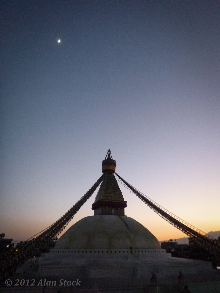 Night falls over Bodnath