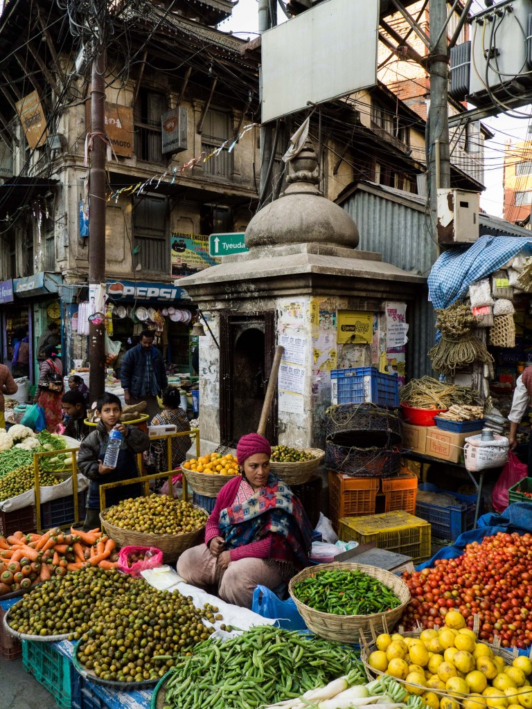 A colourful food market nestled amongst the shrines of Kathmandu's backstreets