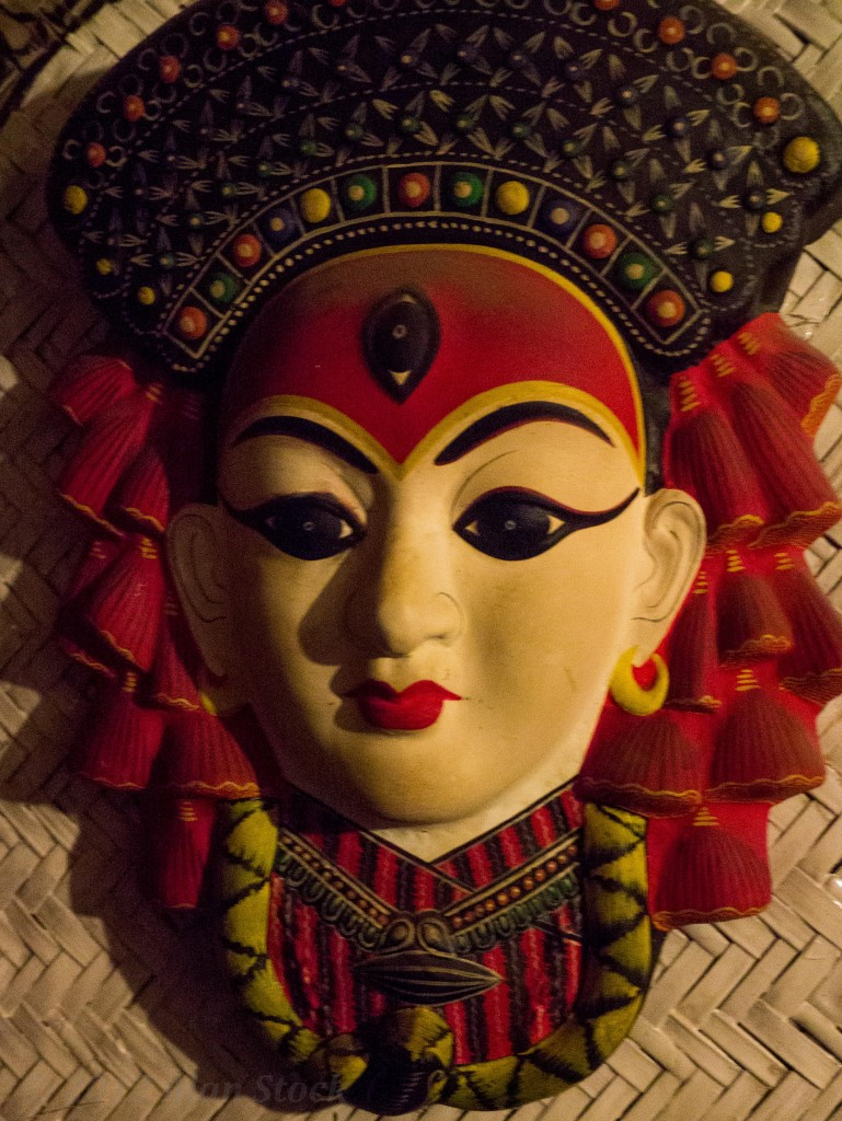 Kumari mask in Kumari's restaurant, Freak Street
