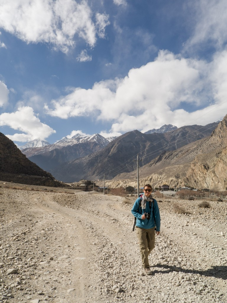 Sophie walking away from Jomsom