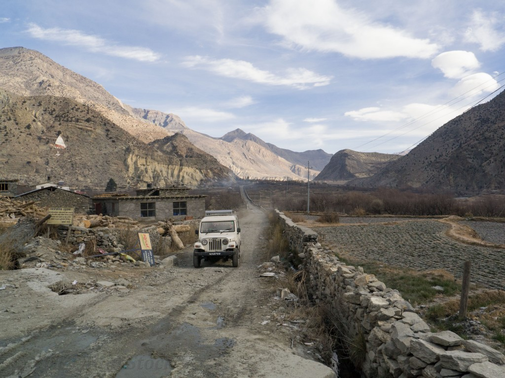 Road from Mustang to Beni, pictured is one of the jeep taxis which ferry locals around the area